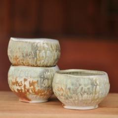 Three winter oatmeal bowls